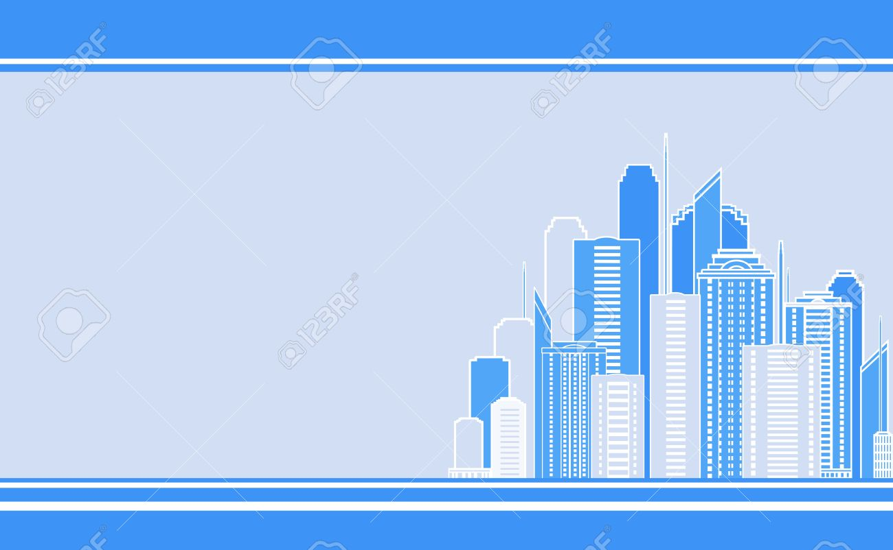 Blue Business Card With City Landscape And Skyscraper Image ...
