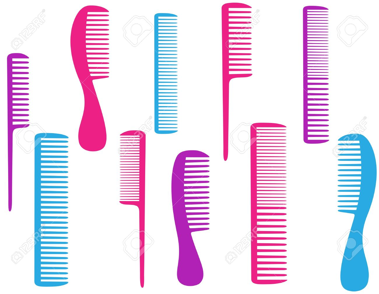 barbershop set of colorful comb for body care Stock Vector - 16002296