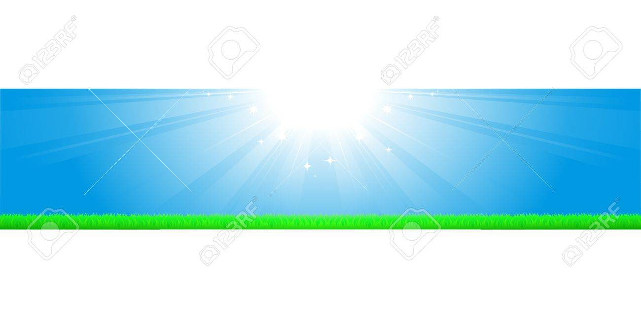 sunny background with bright sky and green grass Stock Vector - 16002308