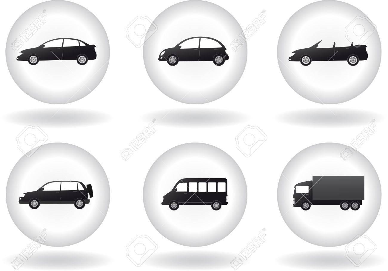 Satz Von Transport-Taste Mit Dem Auto Zeichen In Runden Rahmen Auf ...