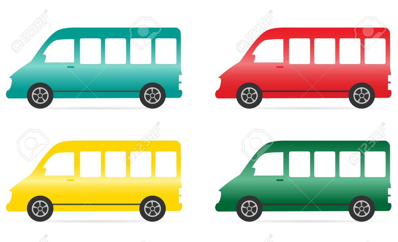 set of isolated colorful minibus on white background Stock Vector - 16824325