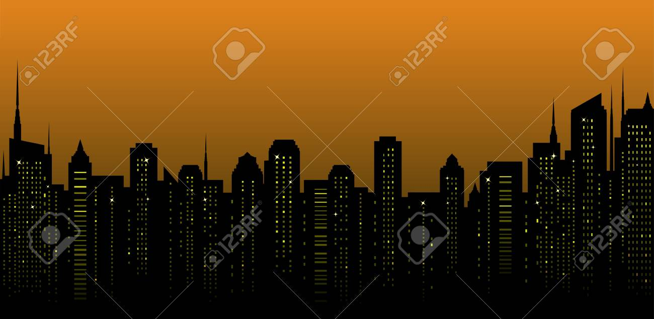 night city landscape and many tall skyscrapers on the street Stock Vector - 17399324
