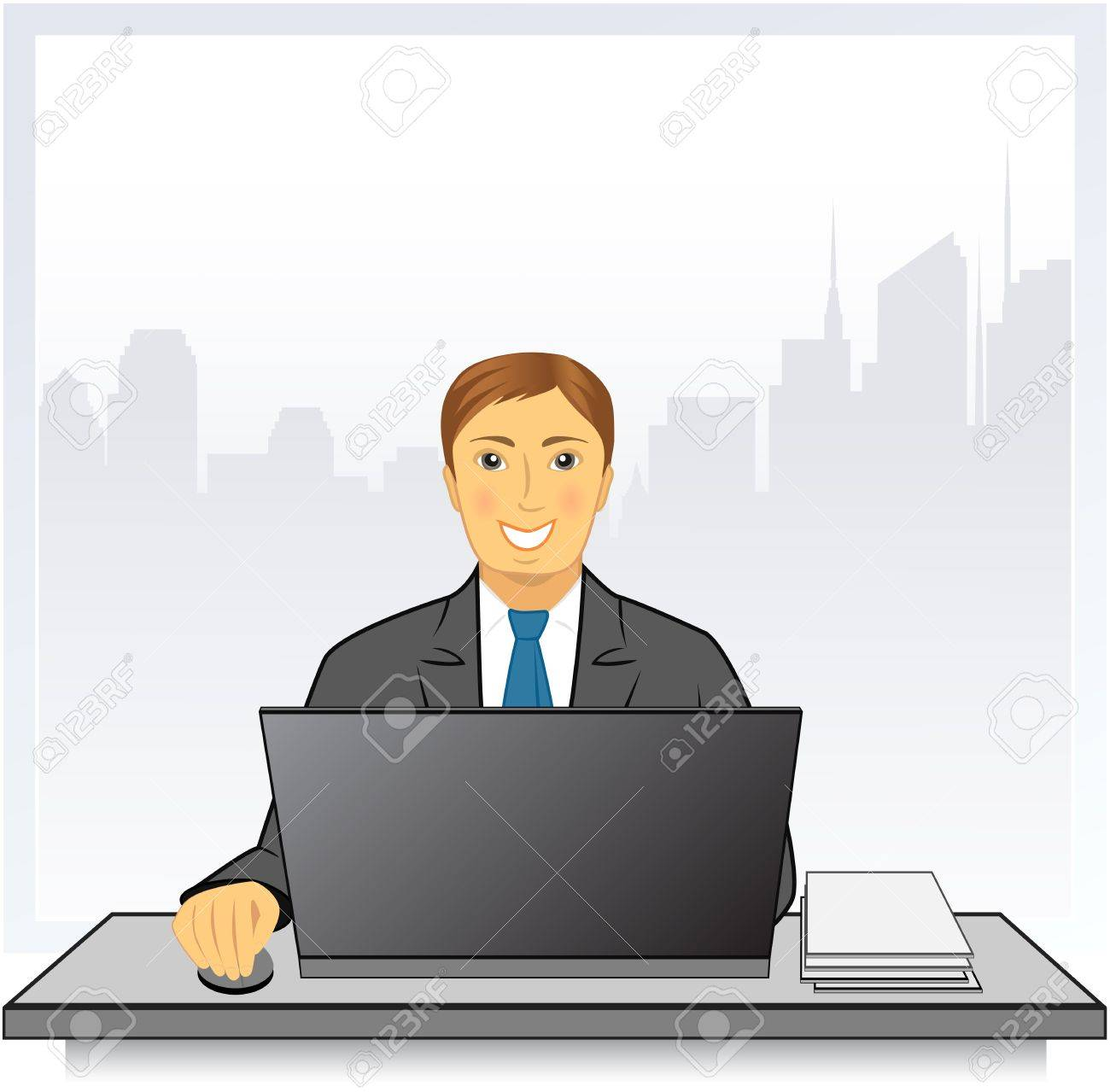 young smiling man with modern laptop in business office on city background with place for text Stock Vector - 17599082