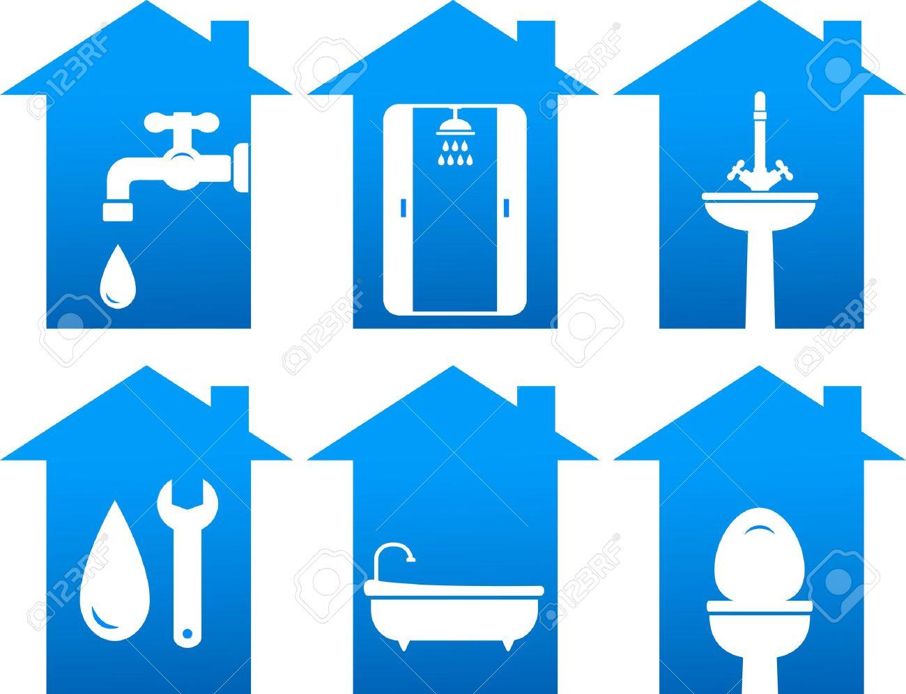 sanitär-satz von bad-und reparatur symbole lizenzfrei nutzbare, Wohnzimmer dekoo