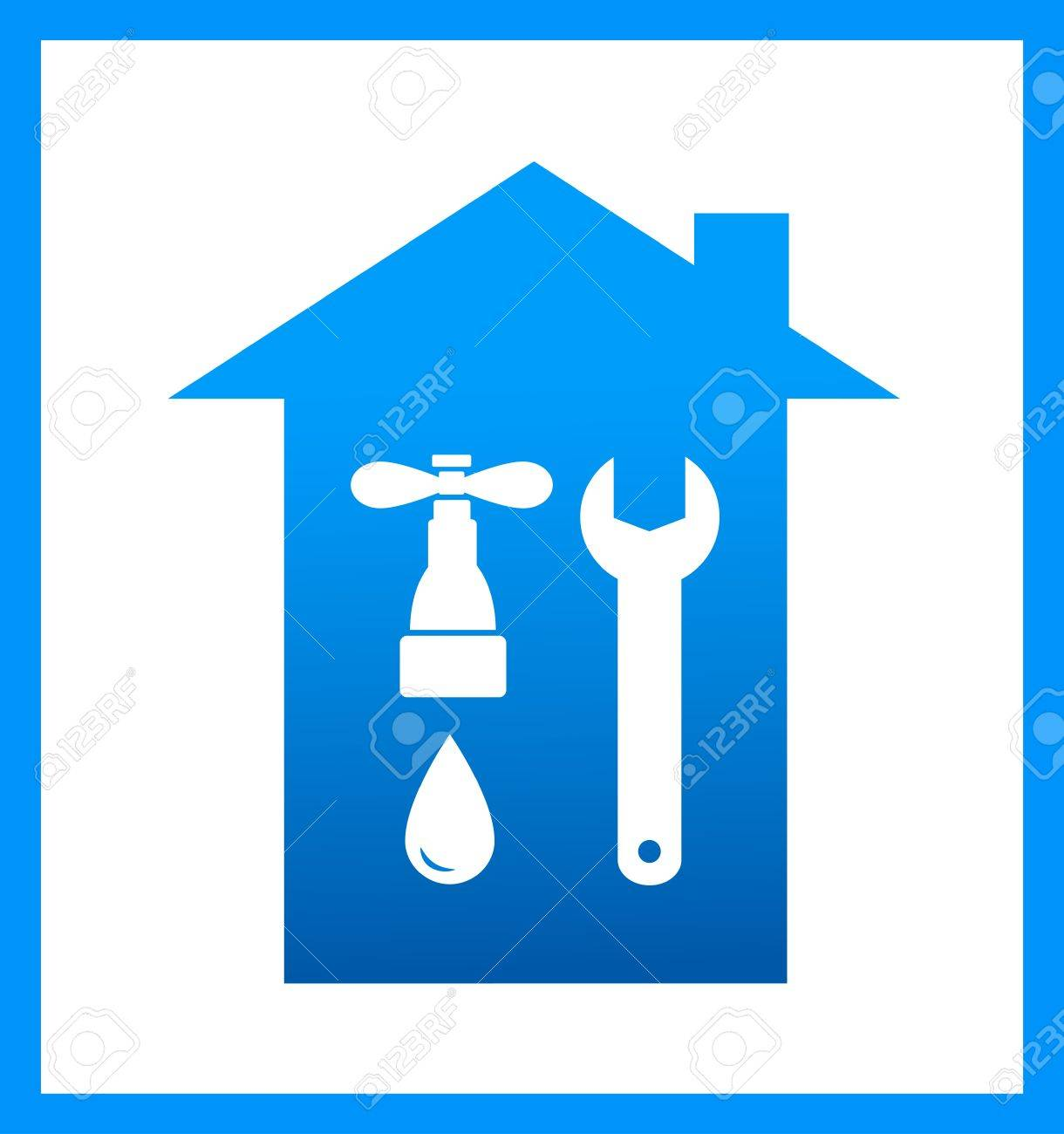 blue icon with plumbing faucet and wrench silhouette Stock Vector - 17884183