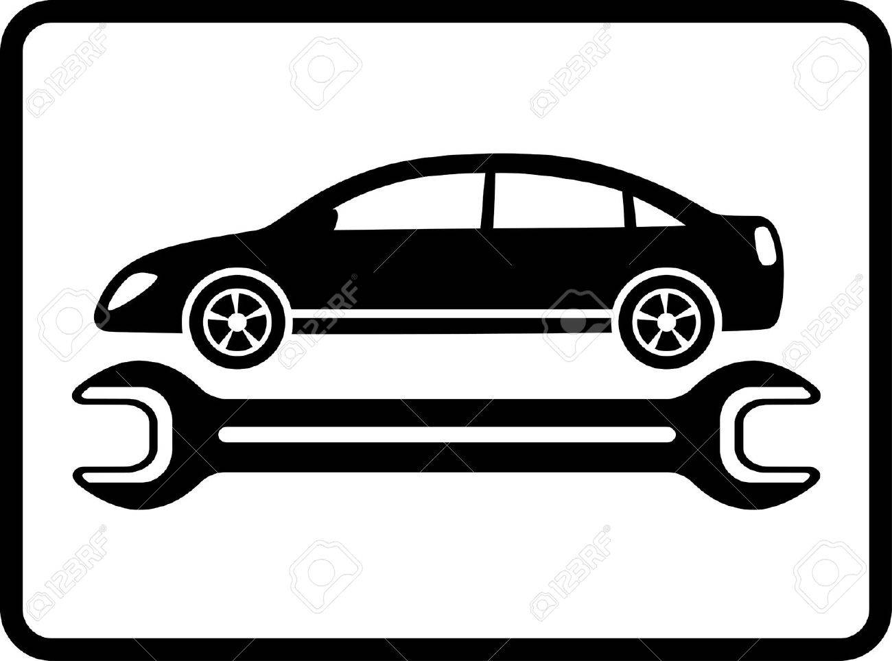 auto service icon with black car silhouette and wrench on white background Stock Vector - 18004273