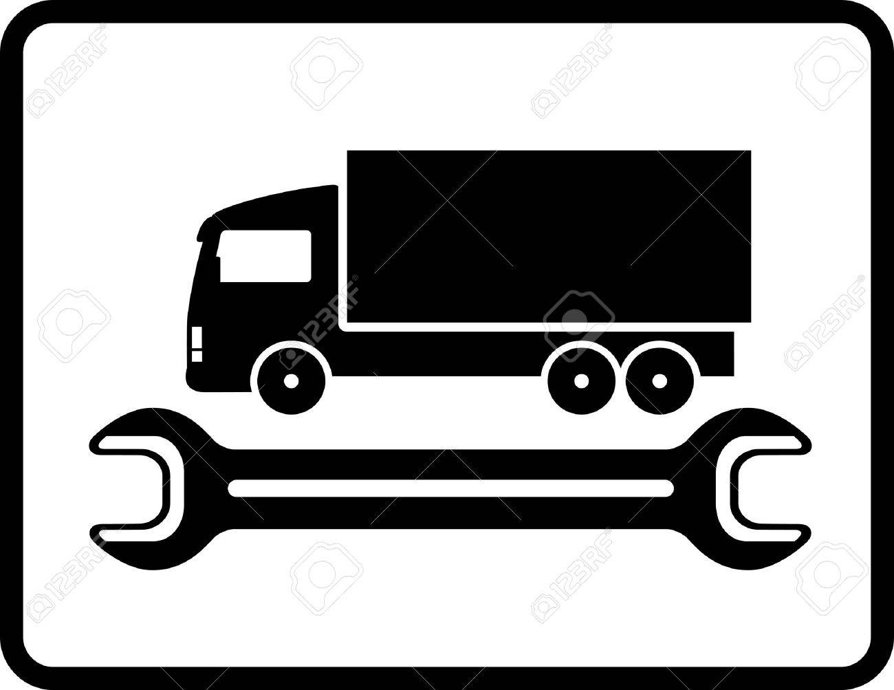 auto service icon with truck and spanner on white background in frame Stock Vector - 18004271