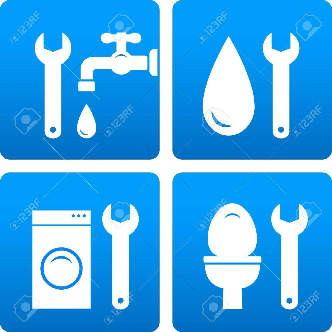 set with wrench, water drop, washing machine silhouette on blue background Stock Vector - 18335741