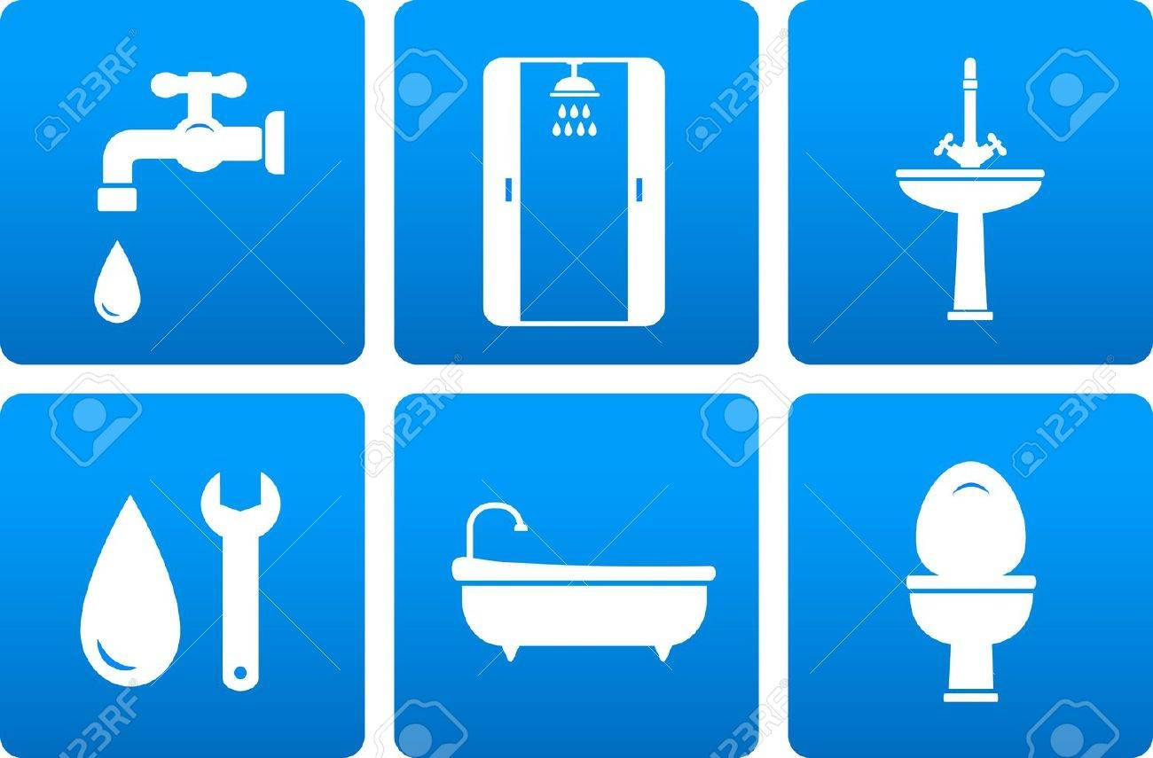 set of plumbing engineering icons with blue buttons Stock Vector - 18335744