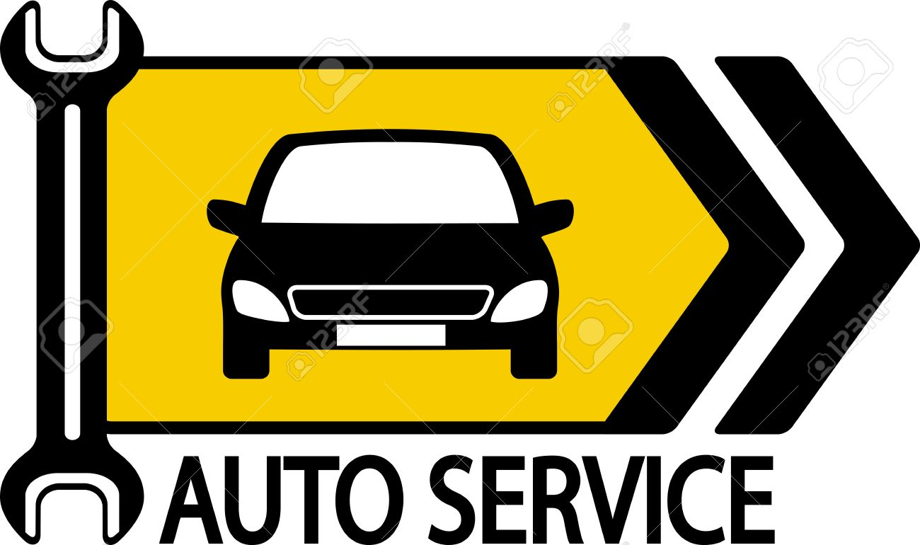 information road sign with modern car, wrench and arrow Stock Vector - 18789706