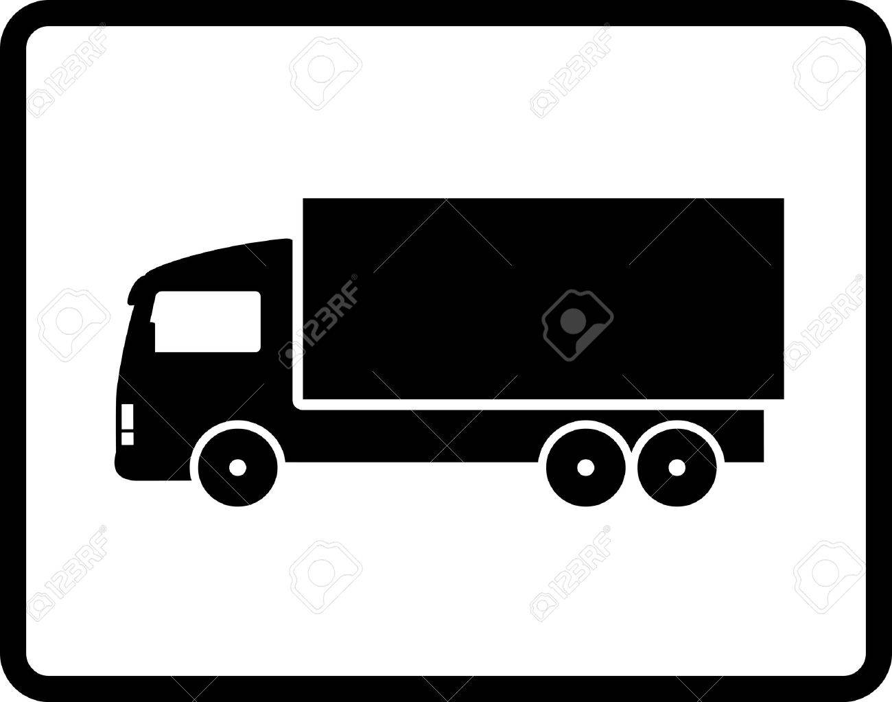 button with black isolated shipping truck silhouette Stock Vector - 19303001