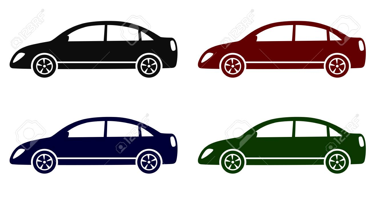 set with colorful modern cars on white background Stock Vector - 19303003