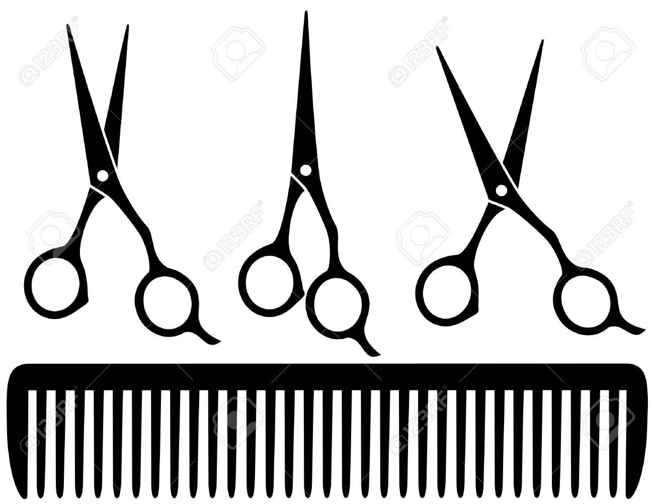 set of black professional scissors on white background and comb Stock Vector - 20307858