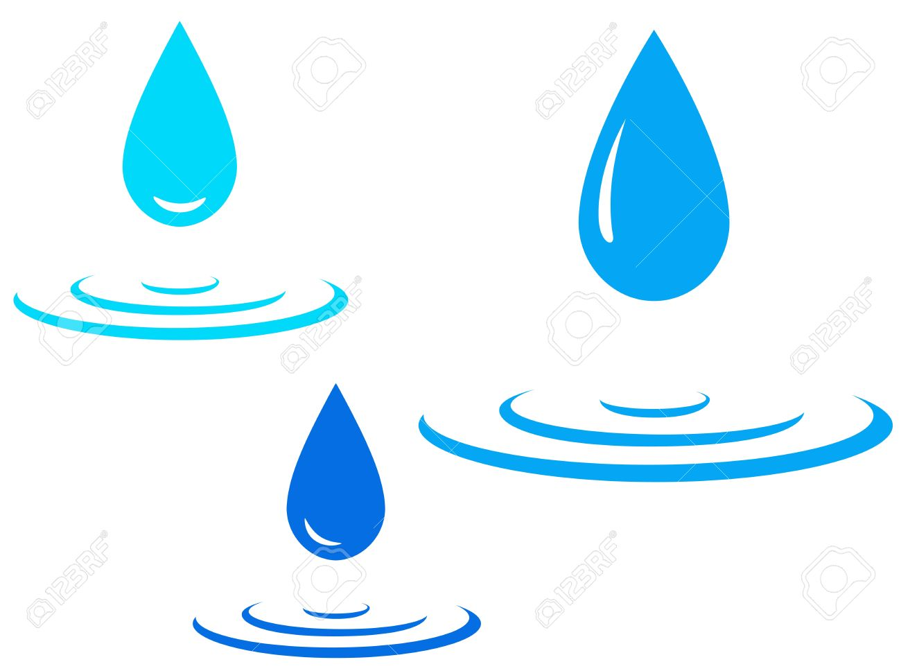blue water splash and falling drop on white background royalty free rh 123rf com water droplet background vector water droplet vector image