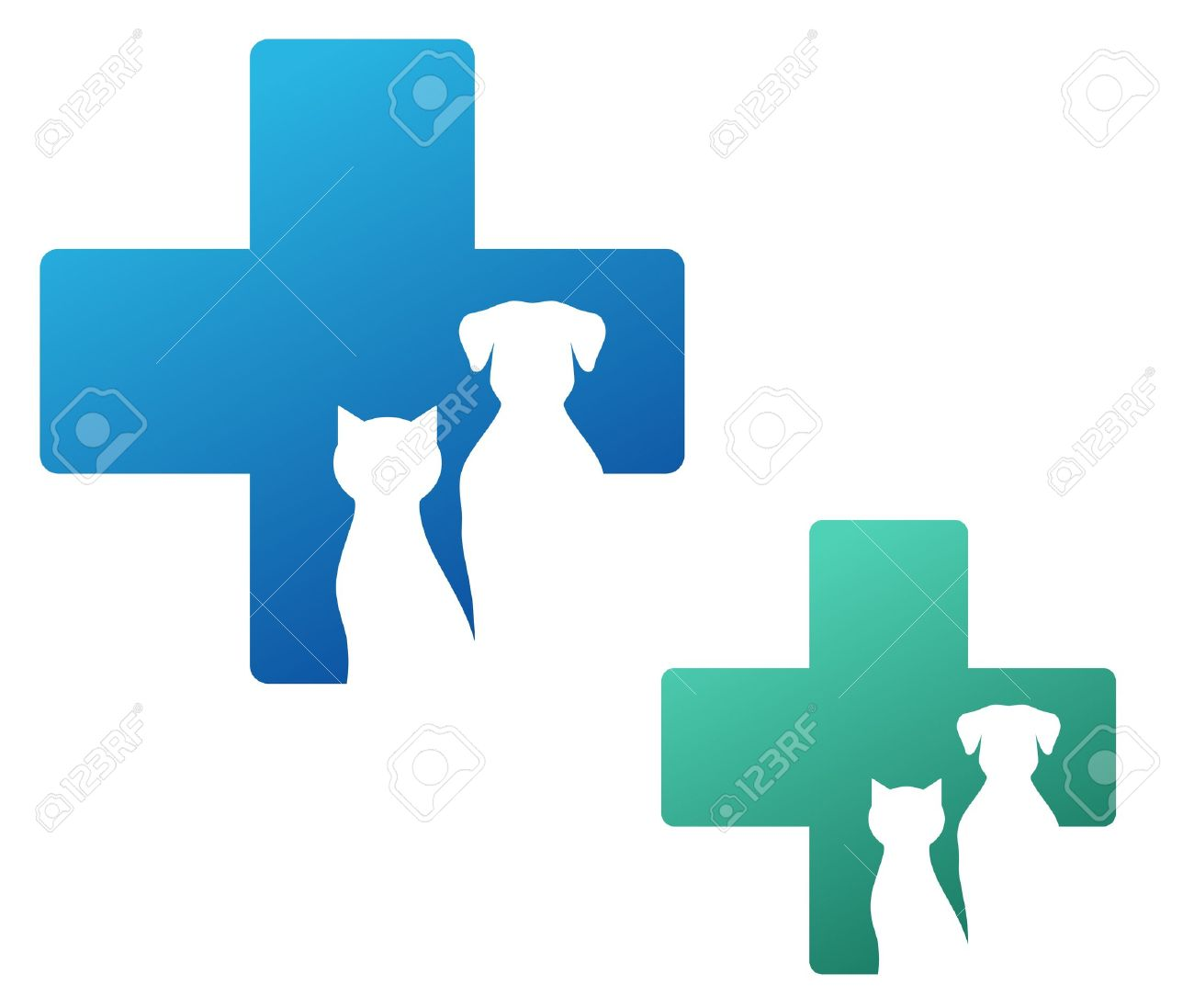 veterinary icon with cross and dog silhouette - 21458979