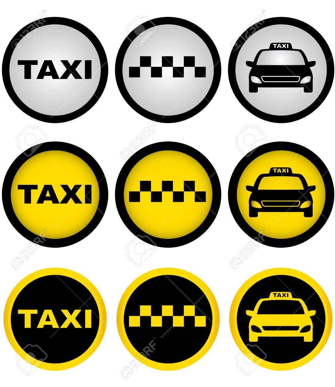 set of colorful taxi signs with cab image