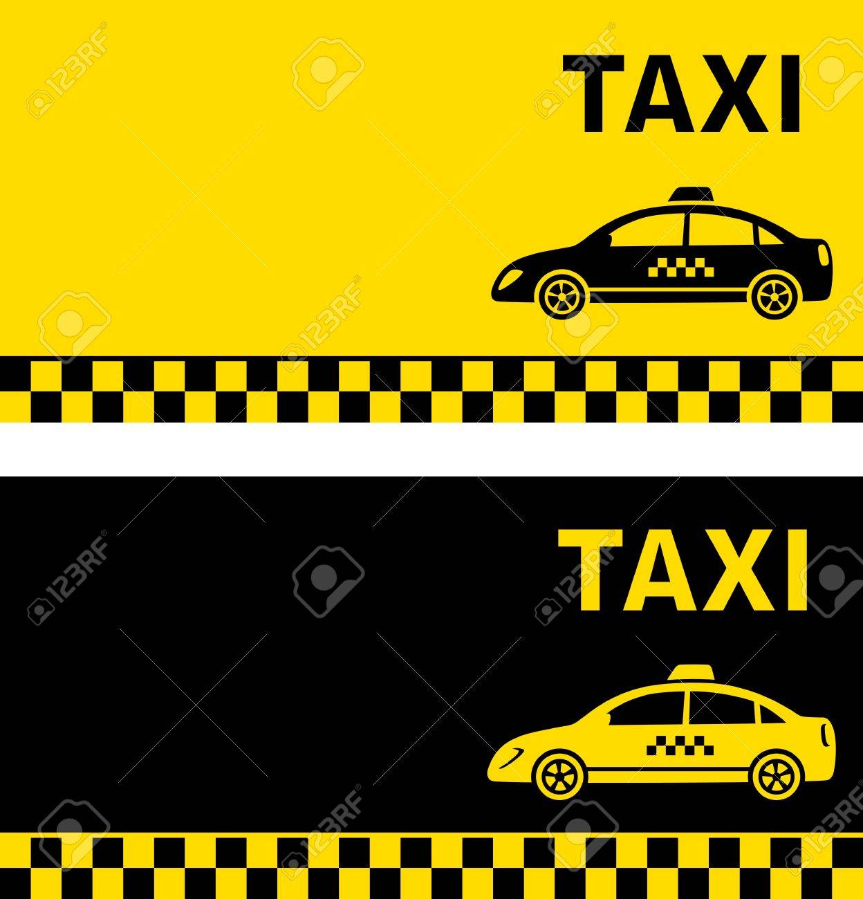 Black And Yellow Taxi Business Card With Taxi Image Royalty Free