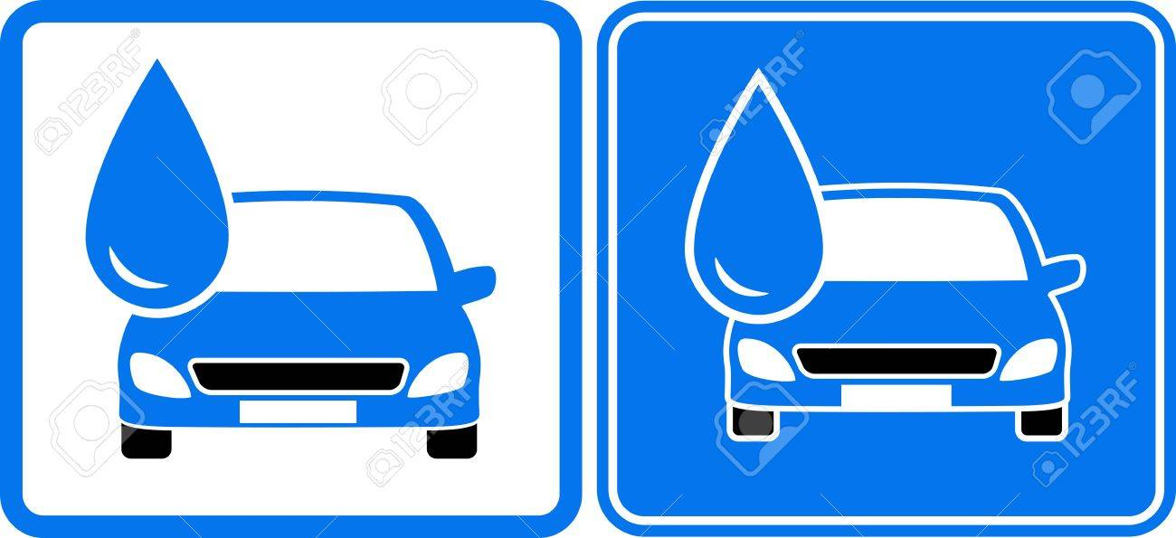 two icon with liquid drop and car silhouette Stock Vector - 21984935