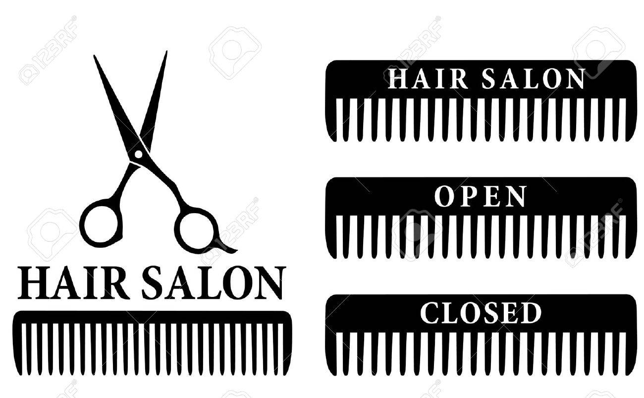 open and closed hair salon sign with black professional scissors and comb - 23120773