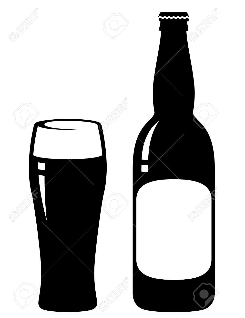 beer bottle and glass with blank label royalty free cliparts rh 123rf com beer bottle vector silhouette beer bottle vector free