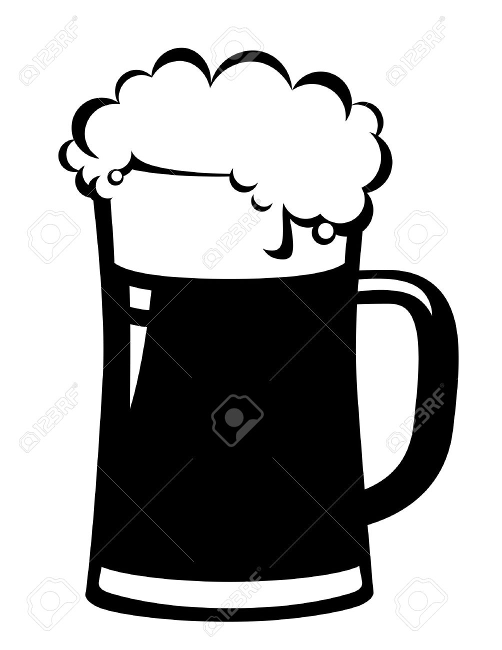 Beer Mug Clipart Black And White