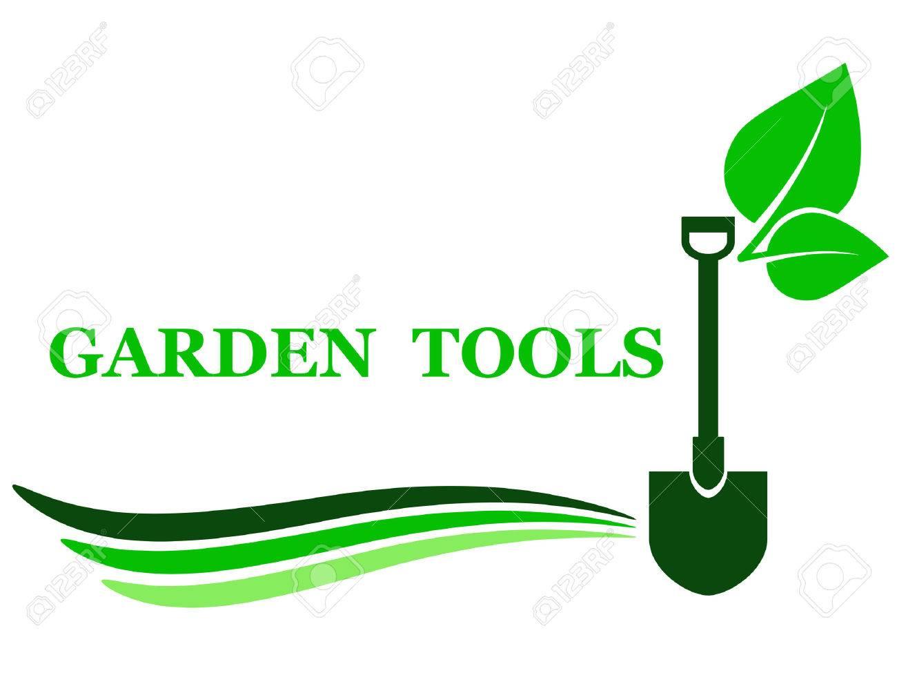 Garten Werkzeug Hintergrund Mit Schaufel Und Grünes Blatt Lizenzfrei