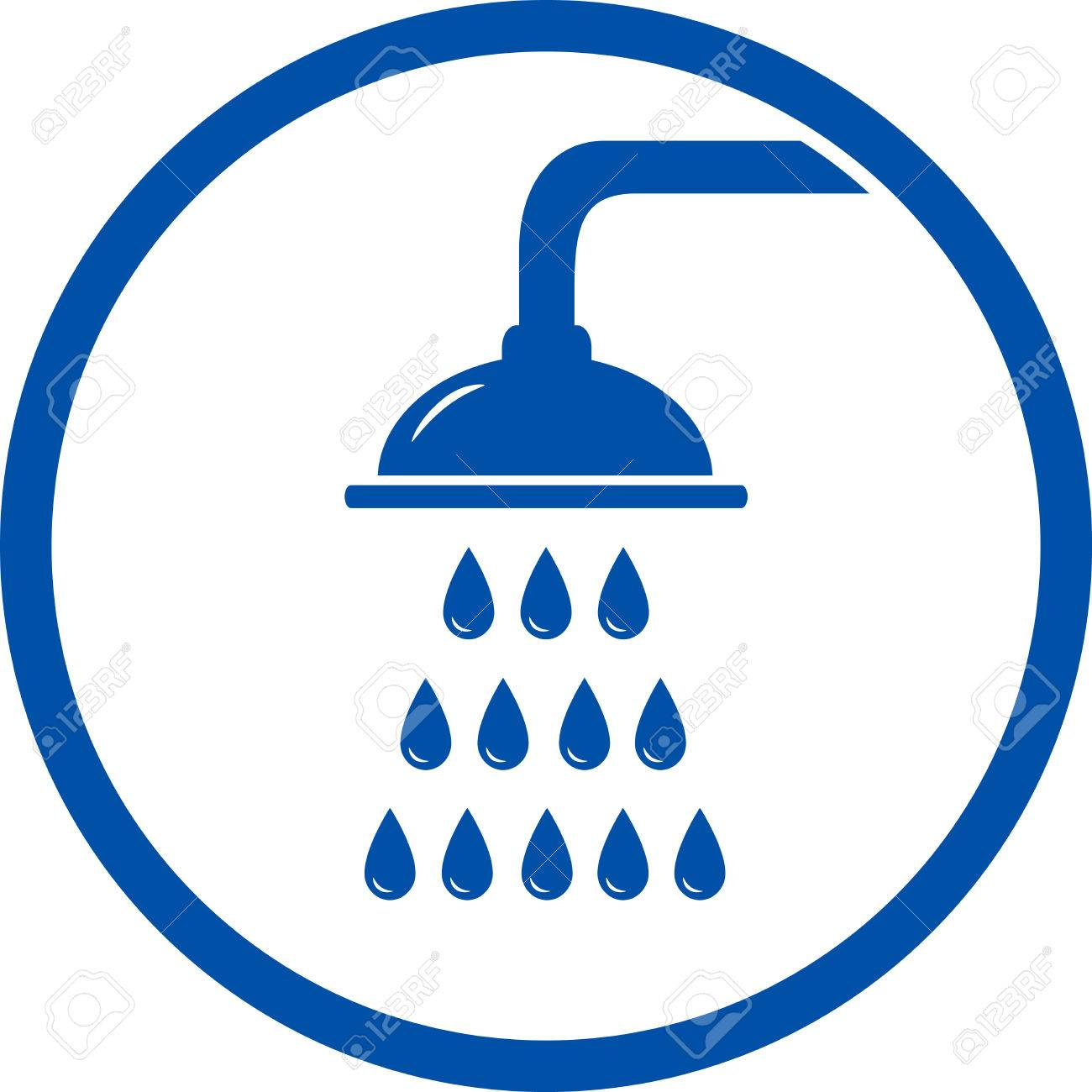 shower head icon with water droplet in frame Stock Vector - 29697807