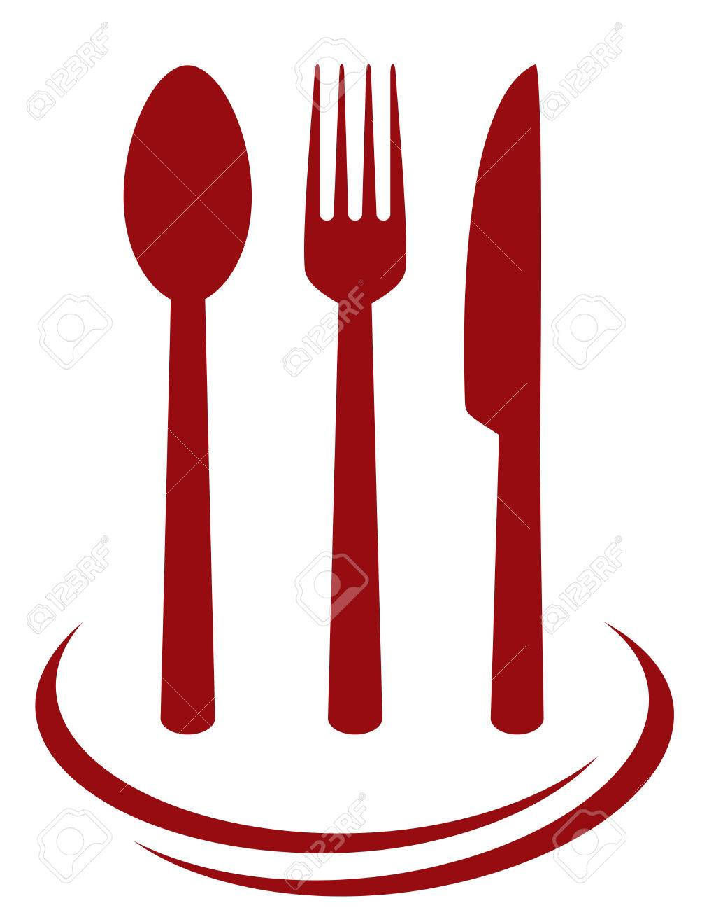 red cutlery set with decorative lines on white background royalty