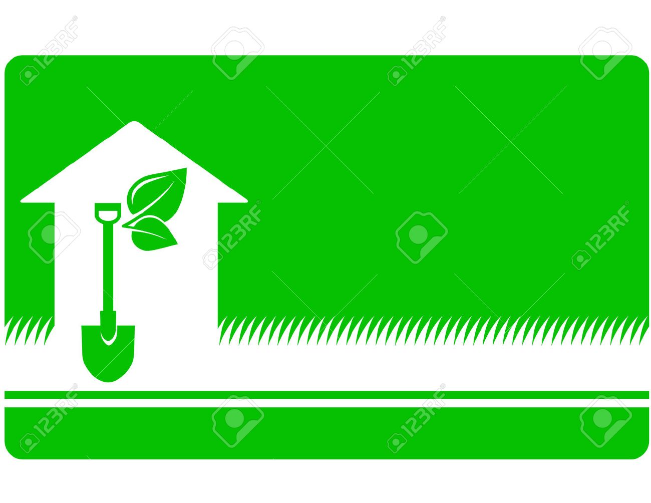 Green Landscaping Business Card With Shovel, Leaf And House Icon ...
