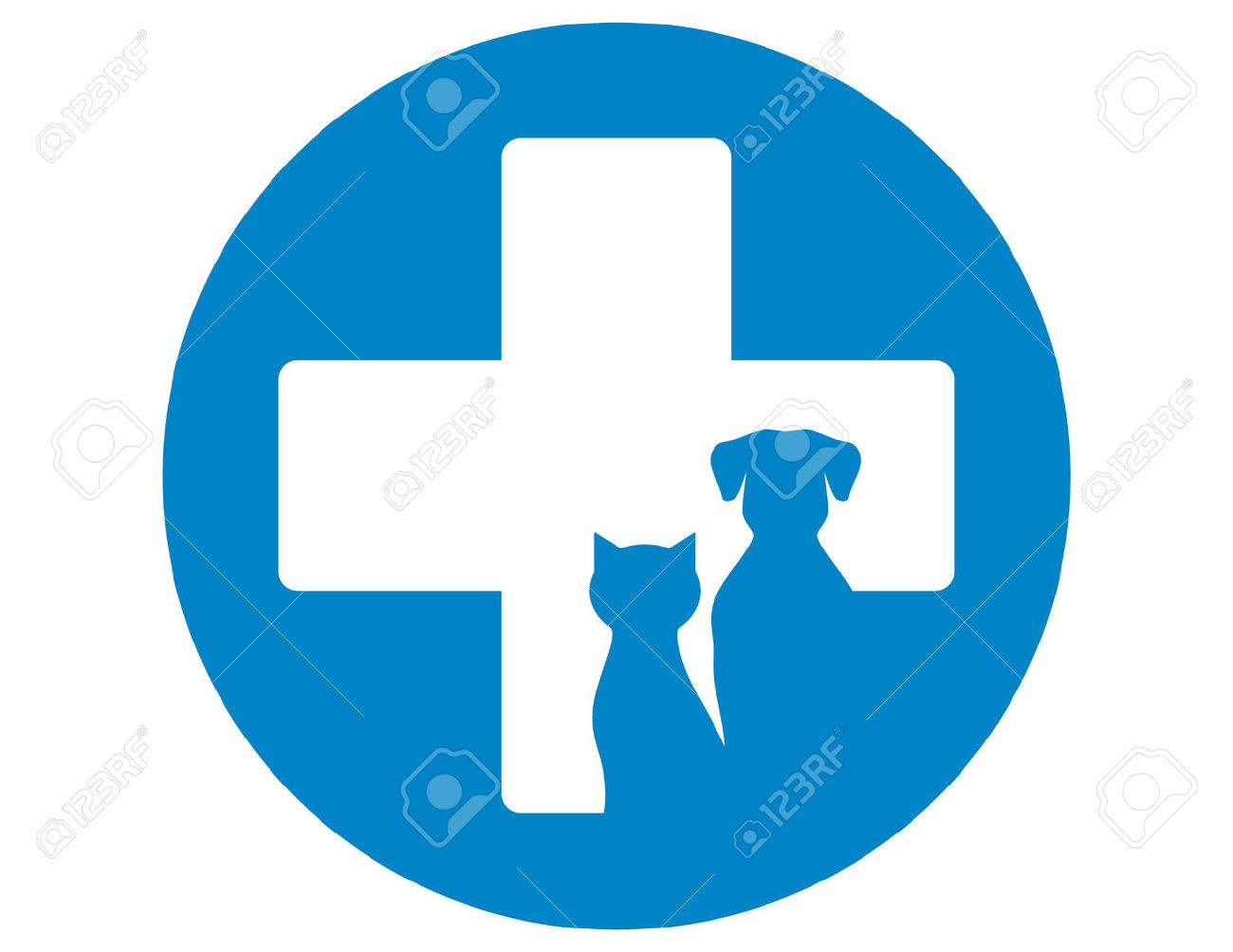 blue round veterinary icon with pets and cross - 46172865
