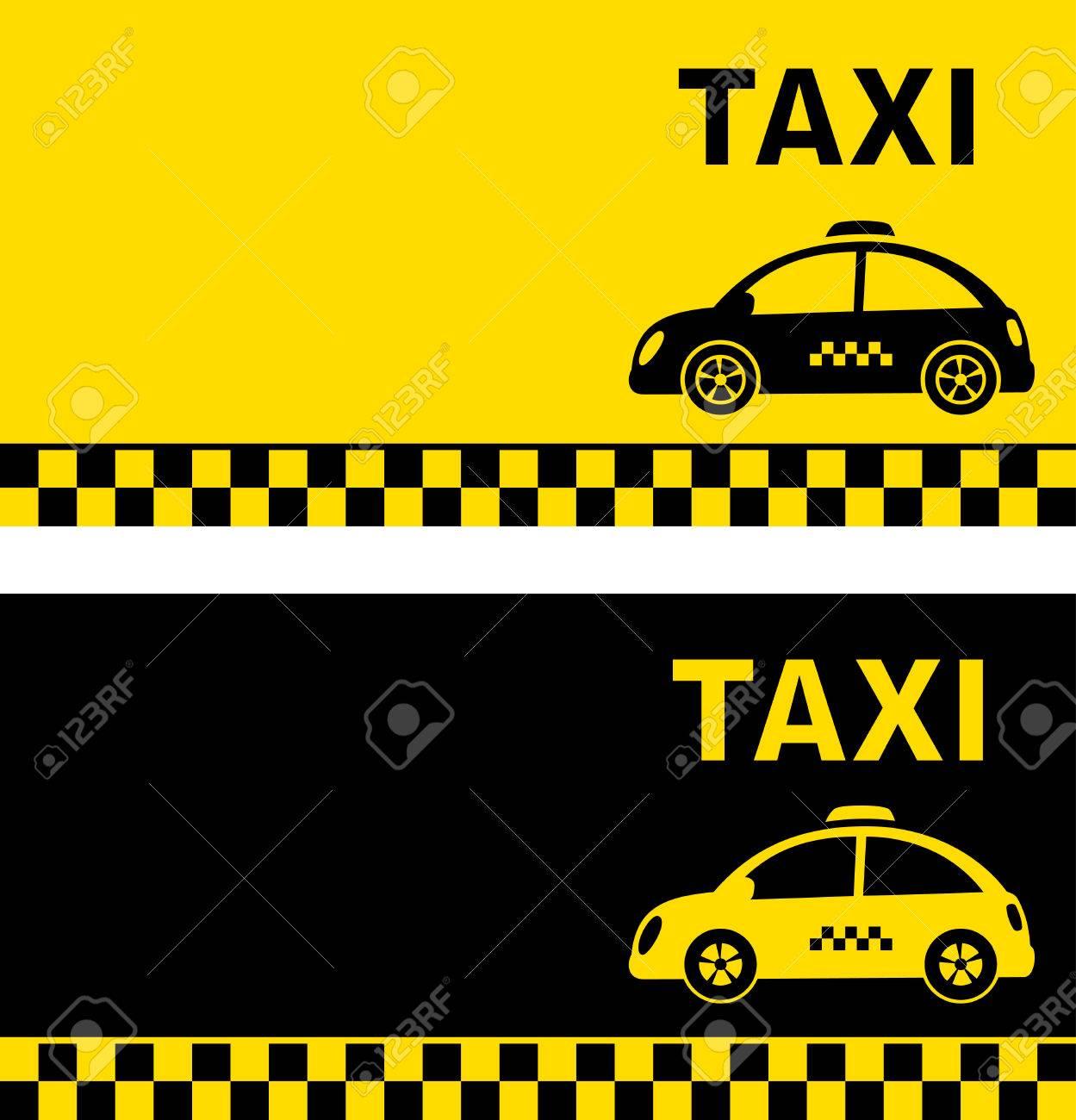 Noir Et Jaune Carte De Visite Avec Retro Taxi Car Silhouette Clip