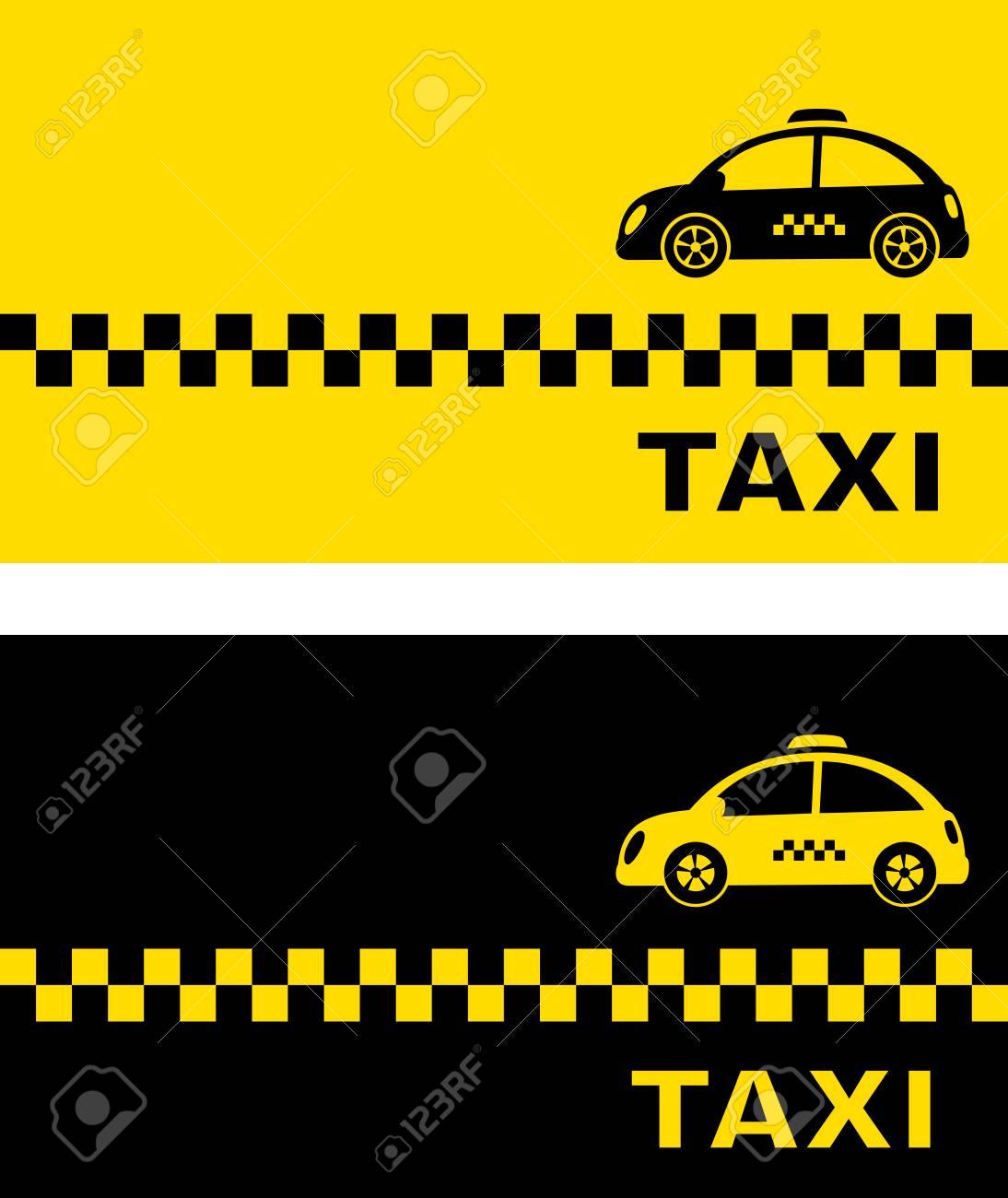 Noir Et Jaune Carte De Visite Avec La Voiture Taxi Retro Clip Art