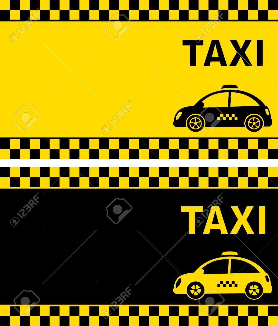 Noir Et Jaune Cartes De Visite Rtro Taxi Avec Bande Damiers