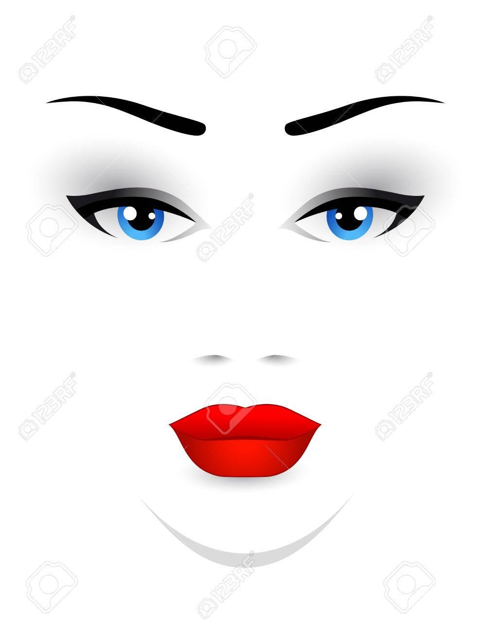 Visage de femme avec des lèvres rouges et les yeux bleus sur fond blanc