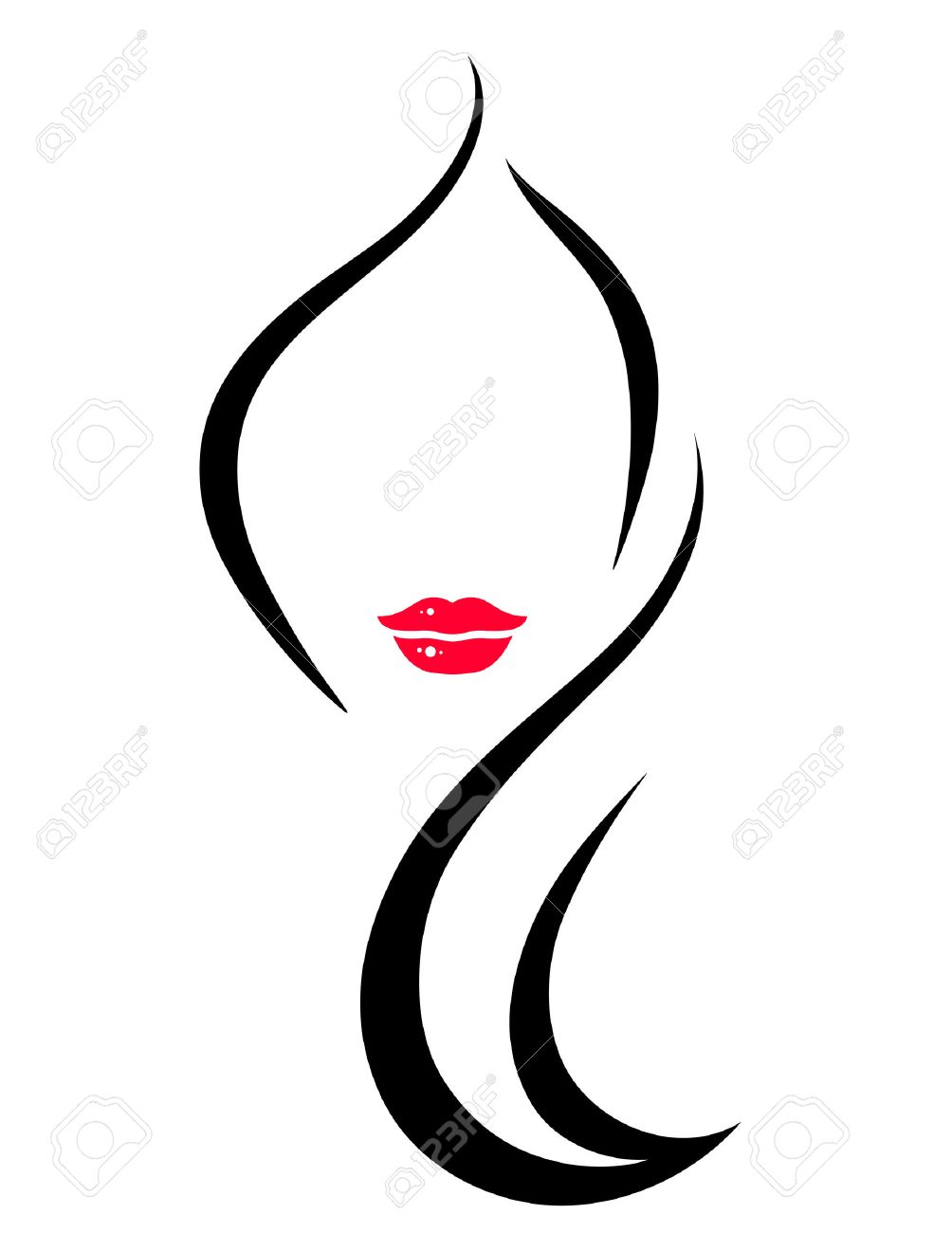 hair salon icon with art woman face silhouette Stock Vector - 49170965