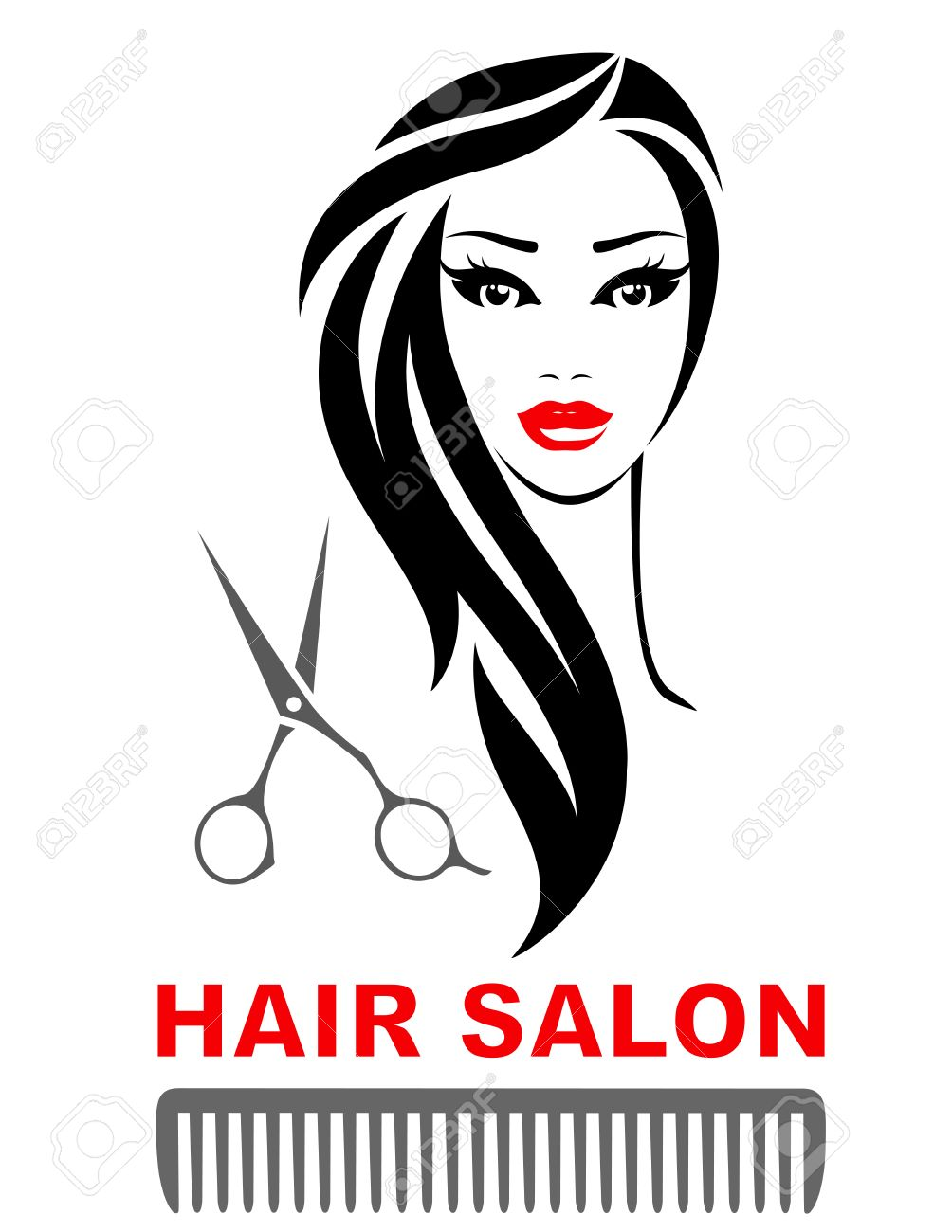 hair salon icon with woman face, scissors and comb silhouette - 51544346