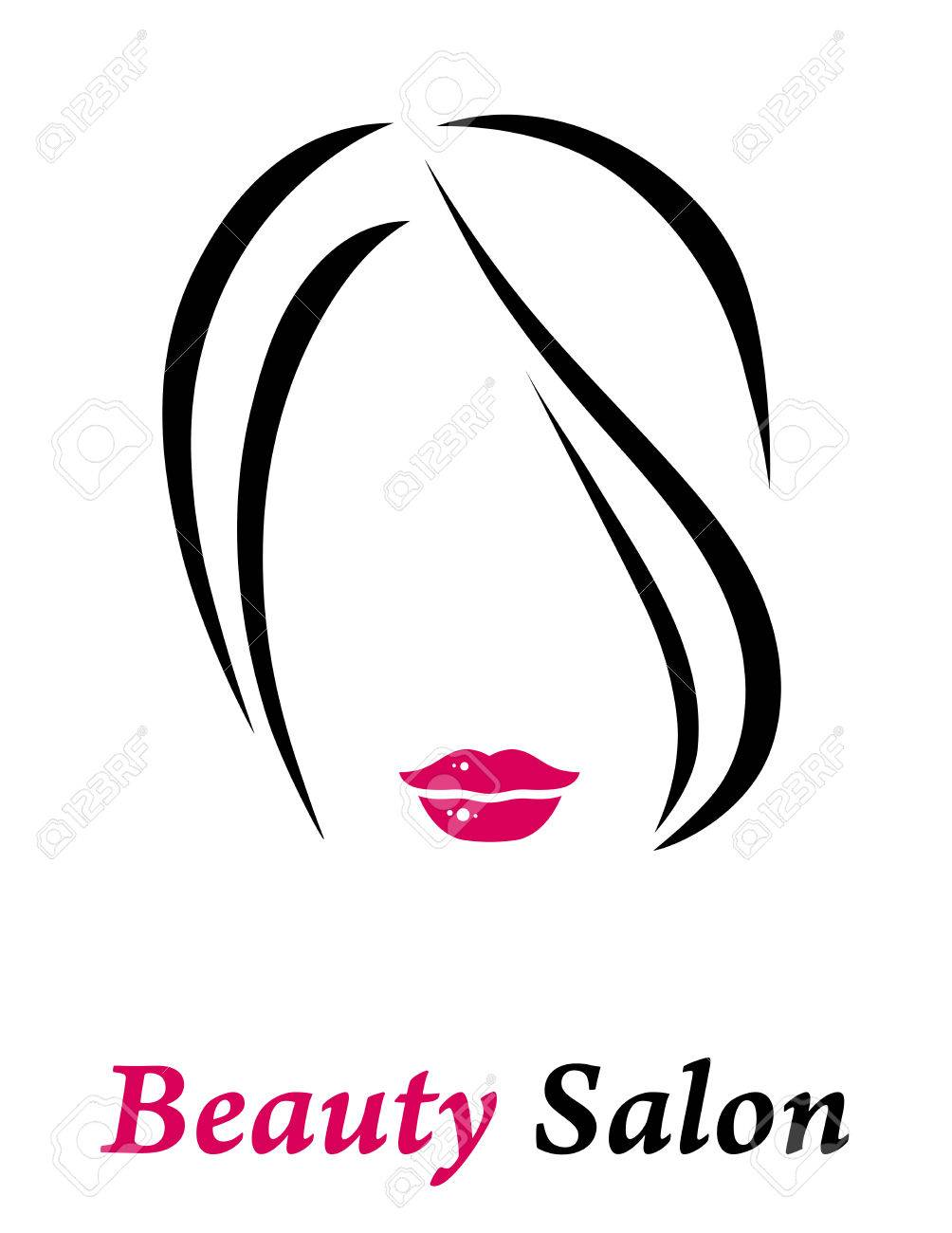 Hair Salon Sign With Isolated Woman Silhouette And Red Lips Stock Vector