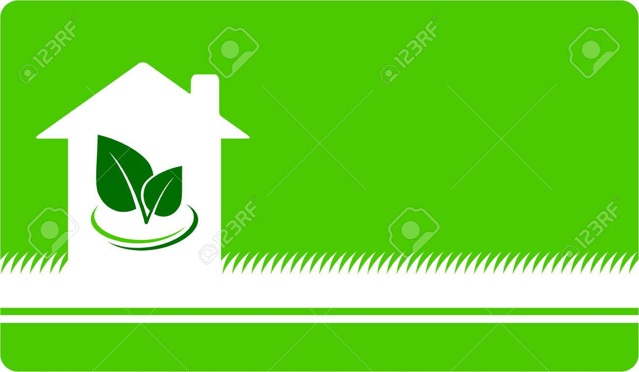 Green Business Card With House, Leaf And Grass Royalty Free Cliparts ...