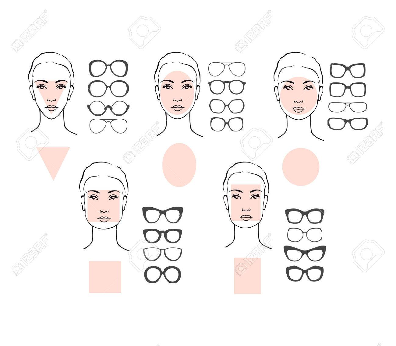 Beauty vector illustration of sunglasses for different faces. Five female face types: round, oval, rectangle, circle, square, triangle - 61717420