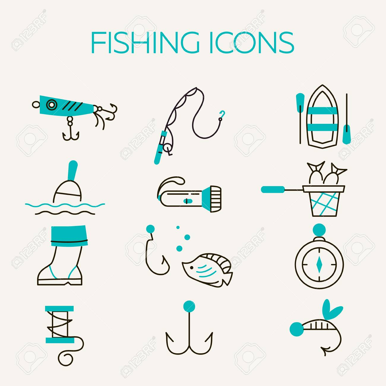 Fishing Icons Summer Activity Vector Icons Fishing Elements