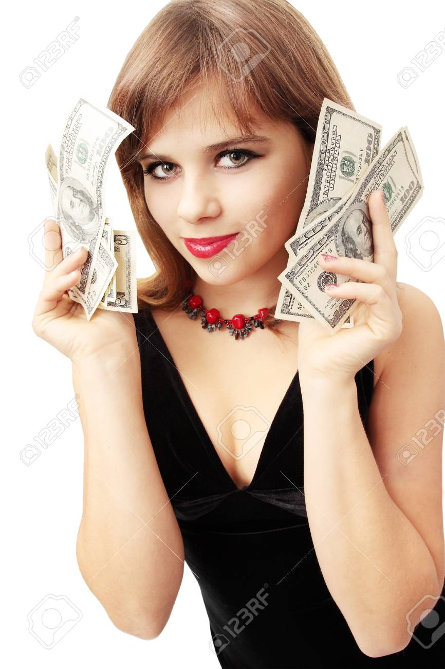 young woman in the black dress holds the money Stock Photo - 8301762
