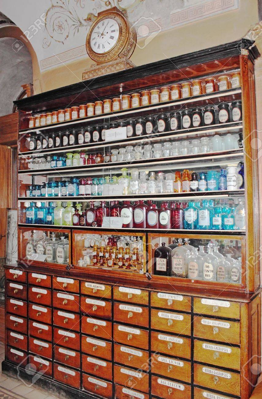 Canteen with the drugs in the ancient drugstore in L'vov Stock Photo - 11297253