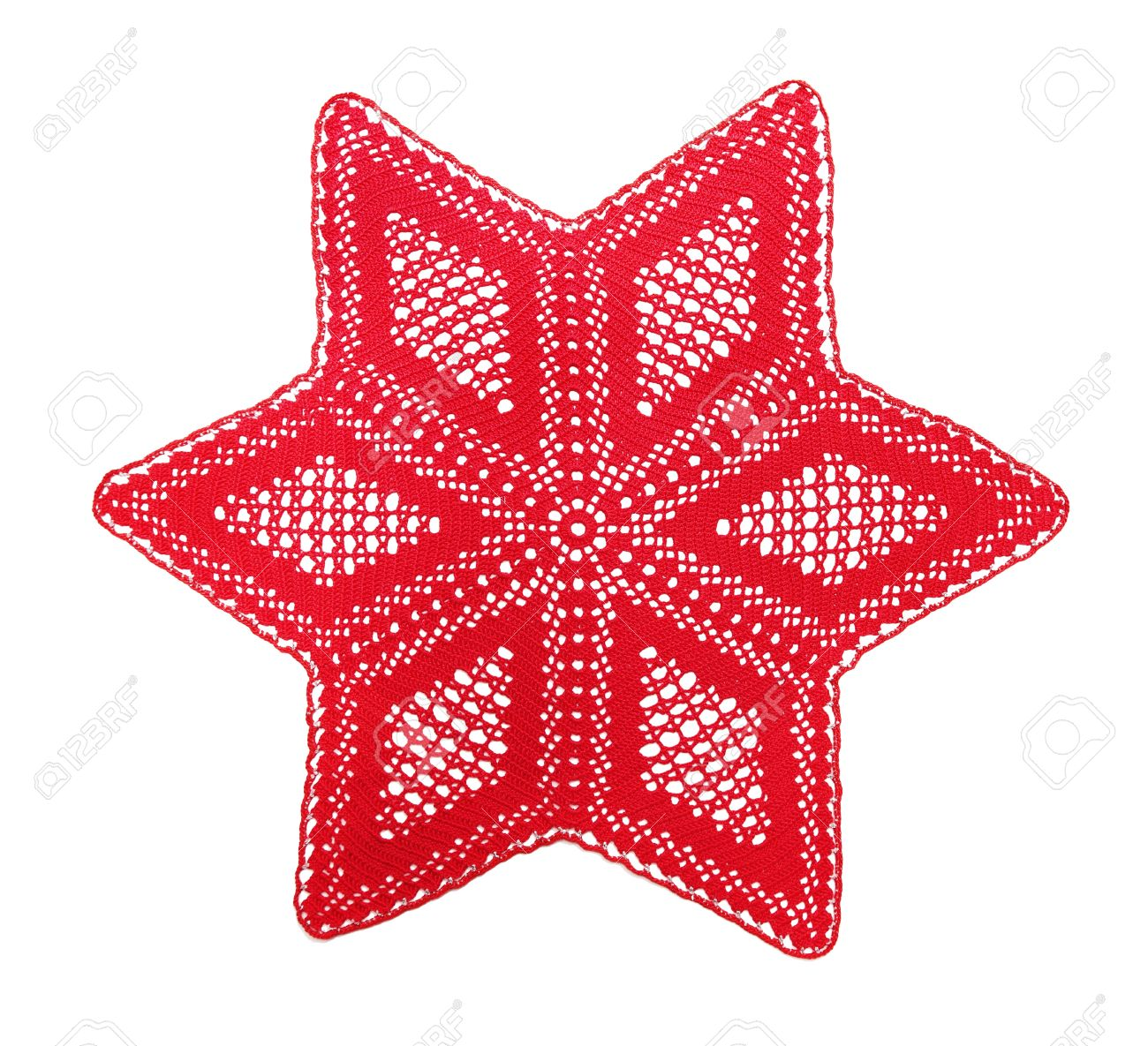 Openwork Crochet Doily, The Christmas Star, Isolated On White Stock ...