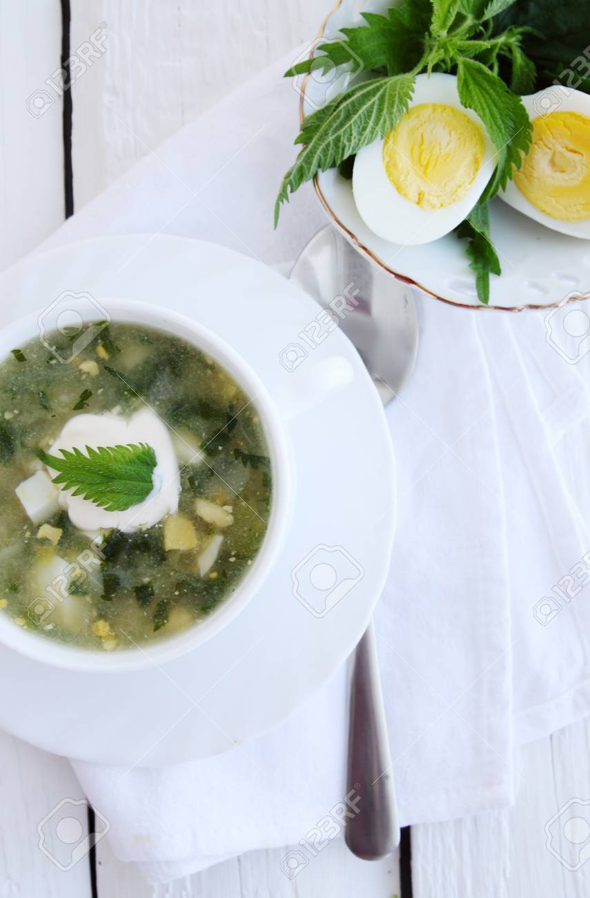 Green borsch with nettles, sorrel and boiled eggs Stock Photo - 26442193
