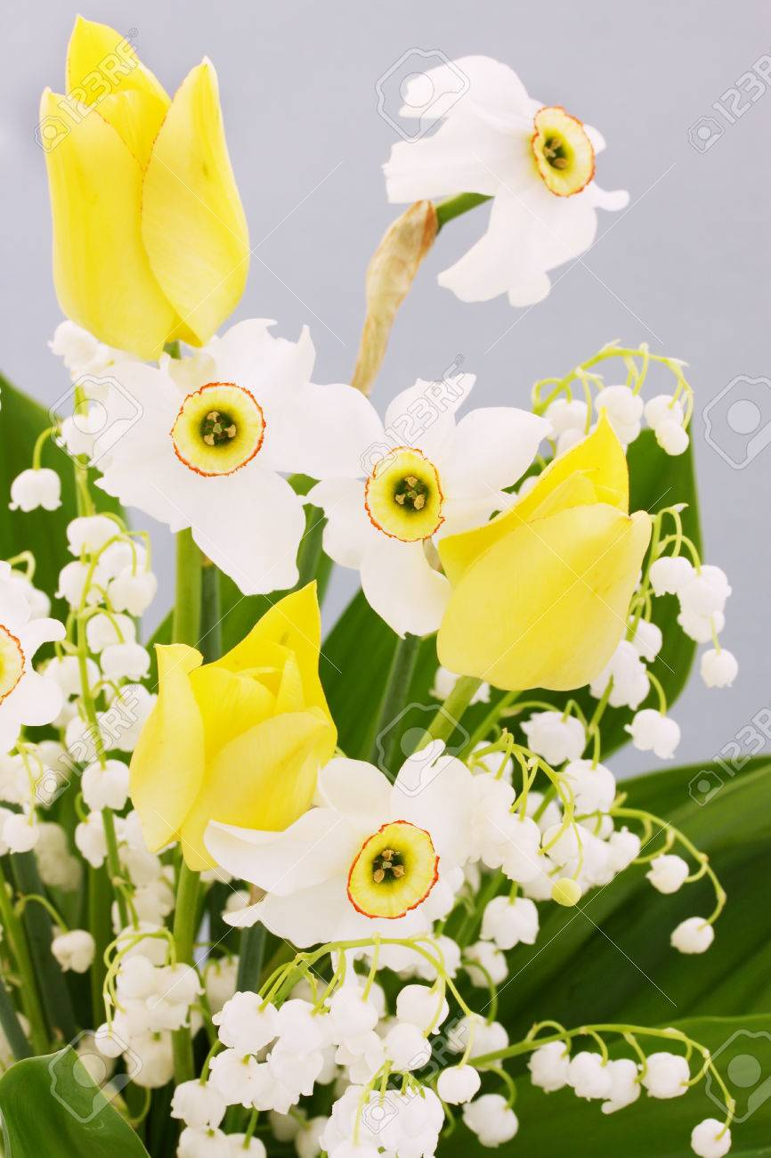 Bouquet Of Spring Flowers Daffodils Tulips Lilies Of The Valley