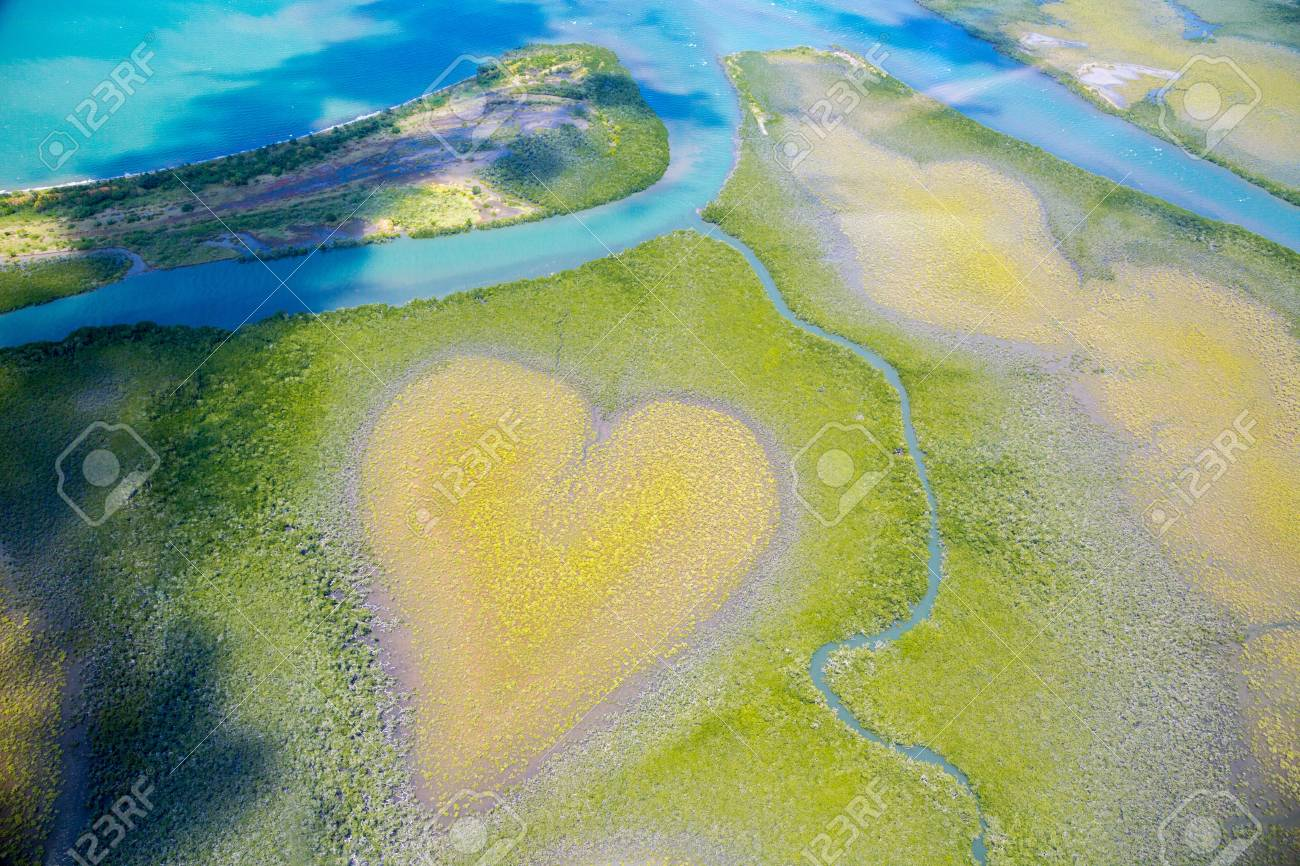 Heart of Voh, aerial view, formation of mangroves vegetation resembles a heart seen from above, New Caledonia, Micronesia, South Pacific Ocean. Heart of Earth. Earth day. Love life, save environment - 114246102