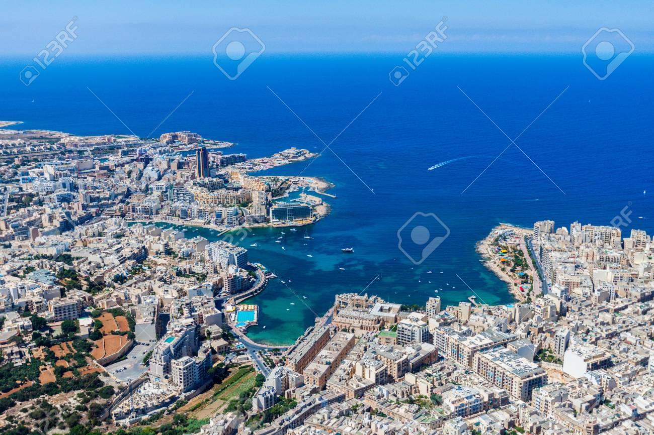 Malta aerial view  St  Julian's (San Giljan) and Tas-Sliema cities