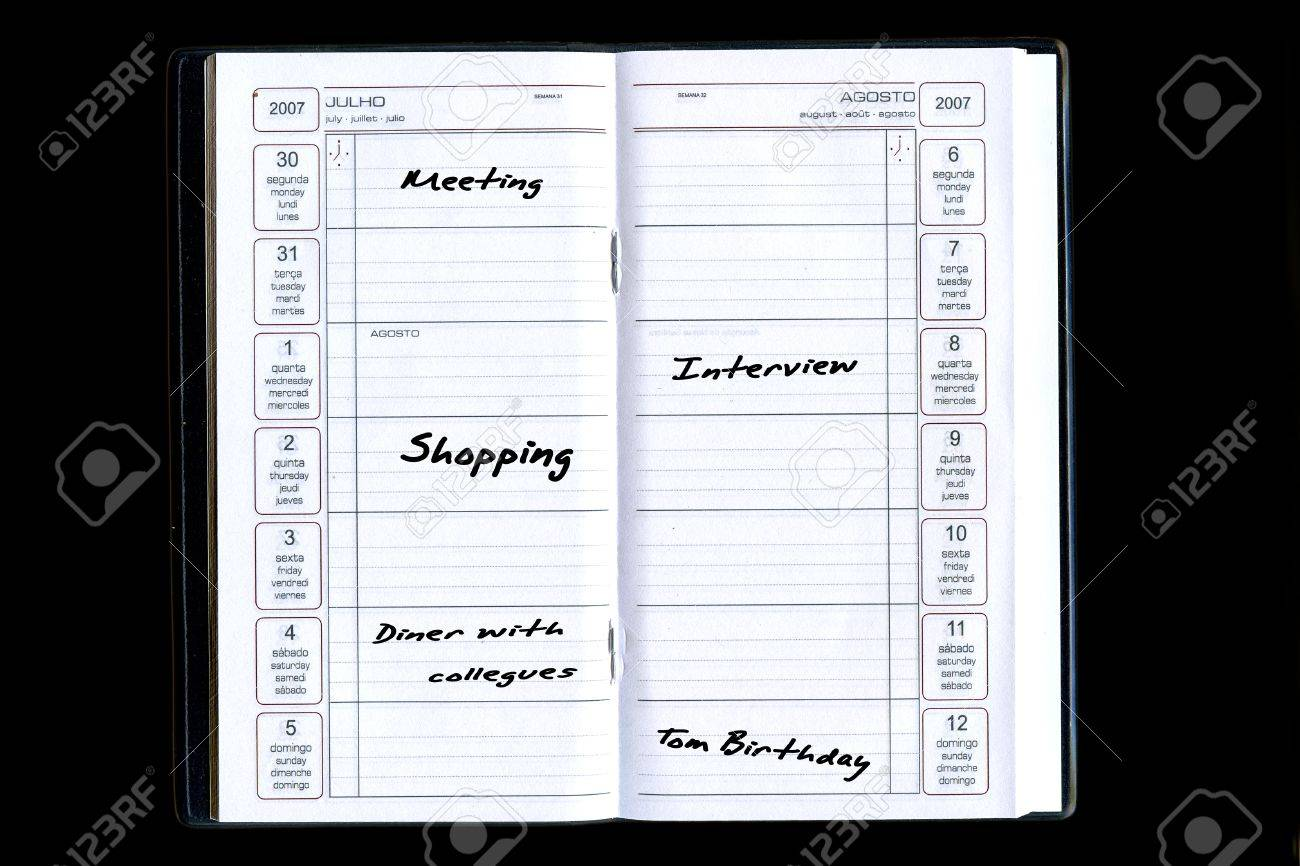 agenda with tasks and activities sorted by date Stock Photo - 1423805