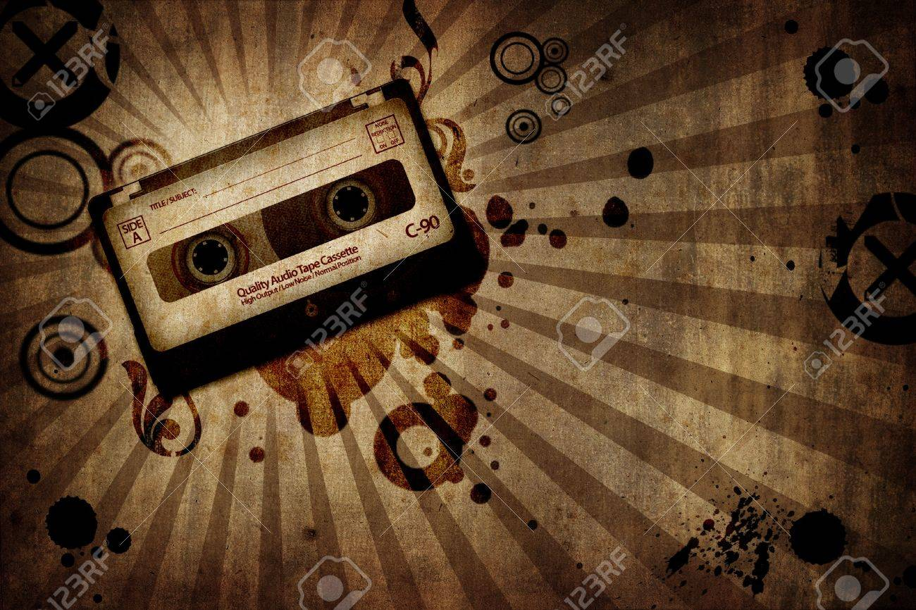 grunge texture background with music cassete - landscape orientation Stock Photo - 4282787