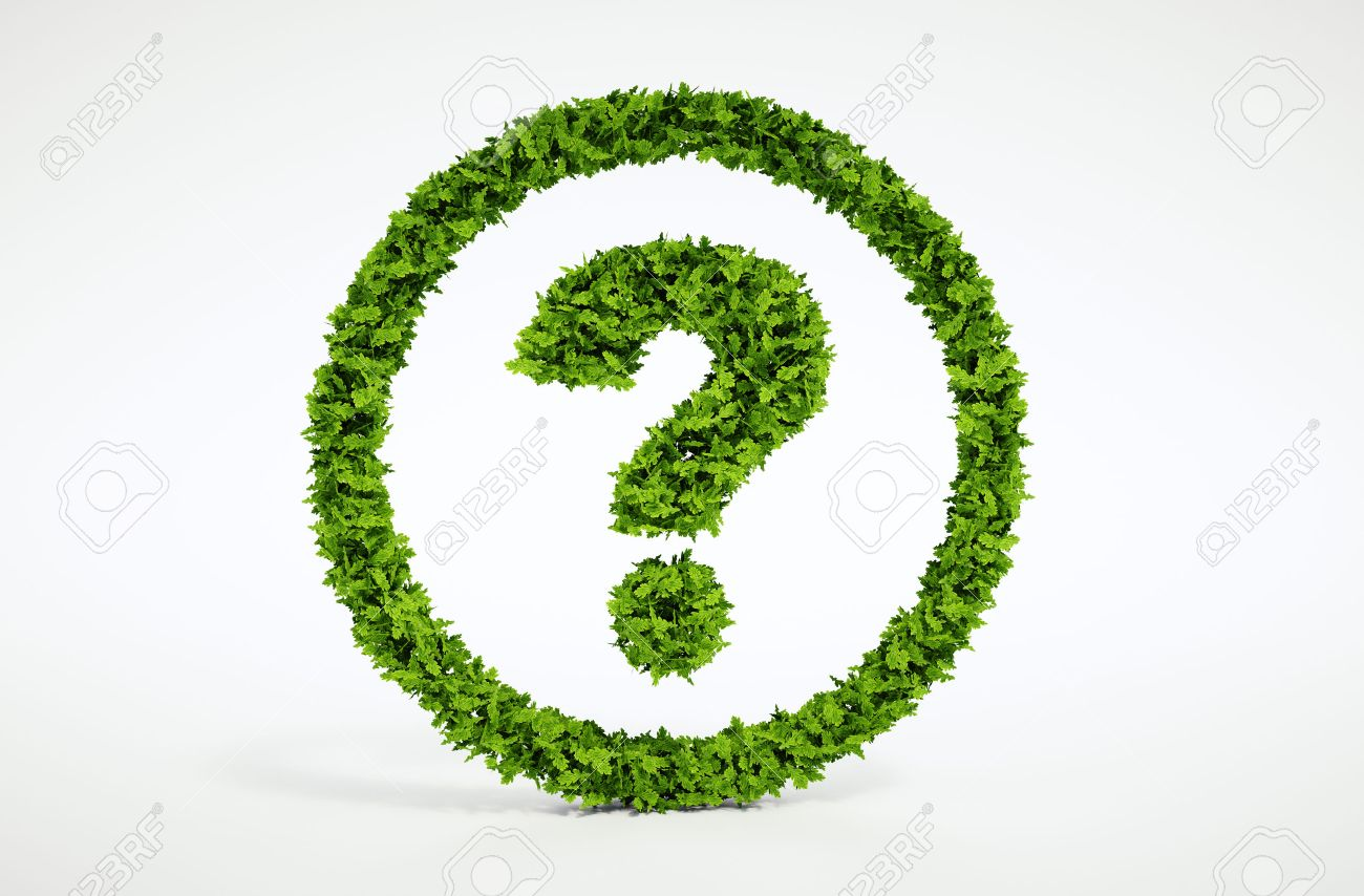 Isolated 3d render natural leaf question symbol with white background - 30700777